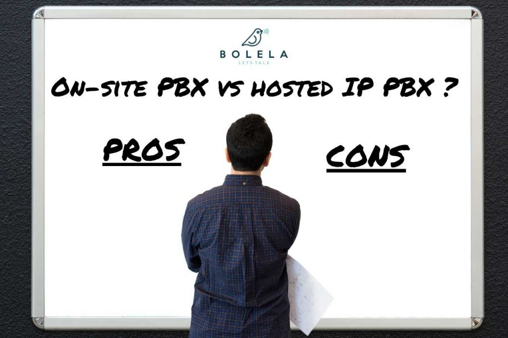 man making a business decision between hosted or on-site pbx